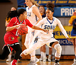 BROOKINGS, SD - DECEMBER 3: Alexis Alexander #1 from South Dakota State applies pressure to Arica Carter #11 from Louisville during their game Sunday afternoon at Frost Arena in Brookings, SD.  (Photo by Dave Eggen/Inertia)
