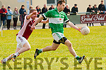 Dara Carmody (Na Gael) in action with Alan Horan  (Scartaglin) in the 4th Div in the 1st round of the Credit Union County League on Sunday at Na Gael GAA grounds,Tralee.