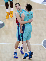 FC Barcelona Regal's Xabi Rabaseda and Marcelinho Huertas (r) celebrate during Spanish Basketball King's Cup semifinal match.February 07,2013. (ALTERPHOTOS/Acero) /NortePhoto