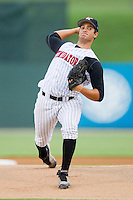 Andre Rienzo #25 of the Kannapolis Intimidators in action against the Hickory Crawdads at Fieldcrest Cannon Stadium August 17, 2010, in Kannapolis, North Carolina.  Photo by Brian Westerholt / Four Seam Images