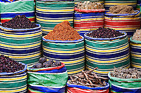 Colorful spices for sale in spice shop, Luxor, Egypt.