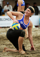 Germany's Helke Classen queries the umpire's call during the 2009 McEntee Hire NZ Beach Volleyball Tour - Women's final at Oriental Parade, Wellington, New Zealand on Sunday, 11 January 2009. Photo: Dave Lintott / lintottphoto.co.nz.