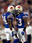 8 October 2007: Buffalo Bills cornerback Jabari Greer (33) celebrates a play with cornerback Terrence McGee (24) against the Dallas Cowboys at Ralph Wilson Stadium in Buffalo, New York. The Cowboys defeated the Bills 25-24 winning their fifth consecutive game of the season...Mandatory Photo Credit: Ed Wolfstein Photo
