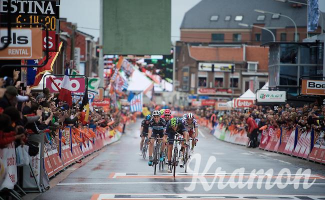 an elite sprint to the finish: Alejandro Valverde (ESP/Movistar) beats Julian Alaphilippe (FRA/Etixx-QuickStep) & Joaquim Rodriguez (ESP/Katusha) on the line<br /> <br /> 101th Liège-Bastogne-Liège 2015
