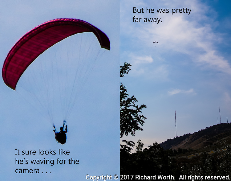 Two images of a paraglider who launched from Lookout Mountain in Golden, Colorado. A close-up of a waving paraglider with a wide perspective showing the launch point.