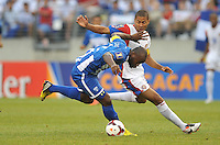 Osman Chavez (2) of Honduras goes against Alvaro Saborio (9) of Costa Rica. Honduras defeated Costa Rica 1-0 at the quaterfinal game of the Concacaf Gold Cup, M&T Stadium, Sunday July 21 , 2013.