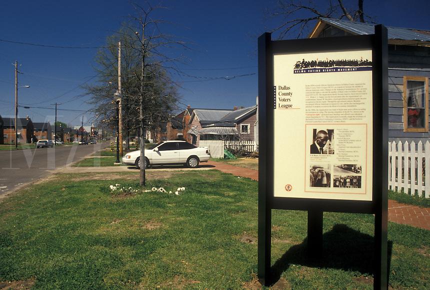 civil rights, Selma, Alabama, AL, Sign describing Civil Rights Movement in Selma.