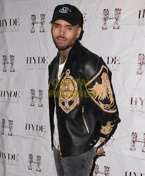 04 November - Hollywood, Ca - Chris Brown. Hyde Sunset Kitchen + Cocktails debut gallery exhibition &quot;The Lost Warhols&quot;  held at Hyde Sunset Kitchen + Cocktails.  <br /> CAP/ADM/BT<br /> &copy;BT/ADM/Capital Pictures