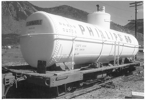 3/4 view of white Phillips 66 tank car D&amp;RGW 52774 at Slilverton.<br /> D&amp;RGW  Silverton, CO
