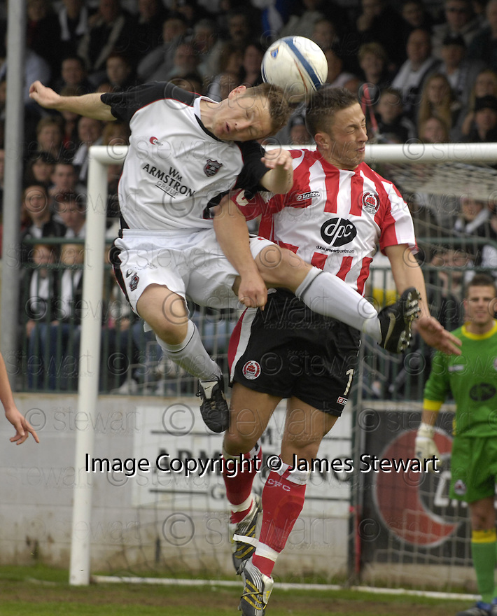 21/04/2007       Copyright Pic: James Stewart.File Name : sct_jspa18_gretna_v_clyde.JAMES GRADY AND MICHAEL MCGOWAN CHALLENGE......James Stewart Photo Agency 19 Carronlea Drive, Falkirk. FK2 8DN      Vat Reg No. 607 6932 25.Office     : +44 (0)1324 570906     .Mobile   : +44 (0)7721 416997.Fax         : +44 (0)1324 570906.E-mail  :  jim@jspa.co.uk.If you require further information then contact Jim Stewart on any of the numbers above.........