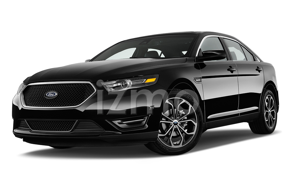 Stock pictures of low aggressive front three quarter view of 2018 Ford Taurus SHO 4 Door Sedan Low Aggressive
