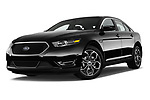 Stock pictures of low aggressive front three quarter view of 2017 Ford Taurus SHO 4 Door Sedan Low Aggressive