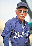 9 March 2011: Detroit Tigers' Manager Jim Leyland watches batting practice prior to a game against the Philadelphia Phillies at Joker Marchant Stadium in Lakeland, Florida. The Phillies defeated the Tigers 5-3 in Grapefruit League play. Mandatory Credit: Ed Wolfstein Photo