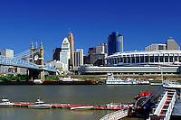 skyline, Cincinnati, stadium, bridge, OH, Ohio, Downtown skyline, John A. Roebling Suspension Bridge, Ohio River, Cinergy Field.