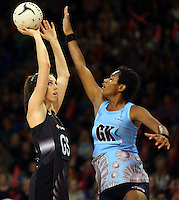 16.07.2015 Silver Ferns Bailey Mes and Fiji's Mere Meiliko in action during the Silver Fern v Fiji netball test match played at Te Rauparaha Arena in Porirua. Mandatory Photo Credit ©Michael Bradley.