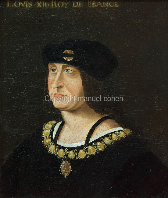 Portrait of Louis XII, 1462-1515, oil painting on canvas, by Jean Perreal, 1450-1530, in the Chateau Royal de Blois, built 13th - 17th century in Blois in the Loire Valley, Loir-et-Cher, Centre, France. The chateau has 564 rooms and 75 staircases and is listed as a historic monument and UNESCO World Heritage Site. Picture by Manuel Cohen