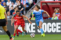 Bridgeview, IL - Saturday August 12, 2017: Emily Menges, Sofia Huerta during a regular season National Women's Soccer League (NWSL) match between the Chicago Red Stars and the Portland Thorns FC at Toyota Park. Portland won 3-2.