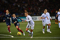 Lorient, France. - Sunday, February 8, 2015: Alex Morgan (13) of the USWNT. USWNT vs France during an international friendly at the Stade du Moustoir.