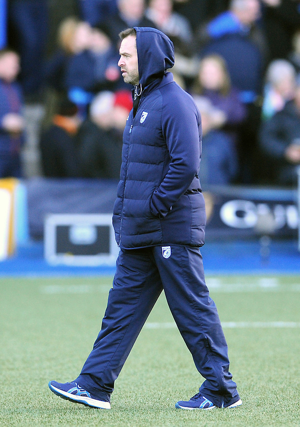 Cardiff Blues' Head Coach Danny Wilson during the pre match warm up<br /> <br /> Photographer Ian Cook/CameraSport<br /> <br /> Guinness PRO12 Round 11 - Cardiff Blues v Newport Gwent Dragons - Monday 26th December 2016 - Cardiff Arms Park - Cardiff<br /> <br /> World Copyright &copy; 2016 CameraSport. All rights reserved. 43 Linden Ave. Countesthorpe. Leicester. England. LE8 5PG - Tel: +44 (0) 116 277 4147 - admin@camerasport.com - www.camerasport.com