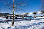 Idaho, Coeur d' Alene. The hwy 95 bridge over the Spokane River as it leaves Coeur d' Alene Lake.