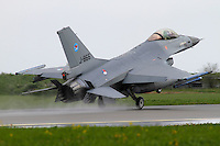 A Dutch F-16 lands. Nato Tiger Meet is an annual gathering of squadrons using the tiger as their mascot. While originally mostly a social event it is now a full military exercise. Tiger Meet 2012 was held at the Norwegian air base Ørlandet.