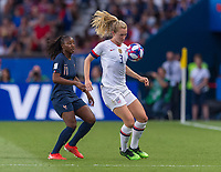 PARIS,  - JUNE 28: Kadidiatou Diani #11 defends Sam Mewis #3 during a game between France and USWNT at Parc des Princes on June 28, 2019 in Paris, France.