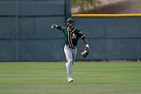 Oakland Athletics center fielder Dairon Blanco (30) jogs off the field between innings of a Minor League Spring Training game against the Chicago Cubs at Sloan Park on March 13, 2018 in Mesa, Arizona. (Zachary Lucy/Four Seam Images)