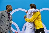 Cullen Jones USA Silver Medal, Florent Manaudou France Gold Medal, Cesar Cielo Brazil Bronze Medal, Men's 50m Freestyle..London 3/8/2012 Aquatics Center..London 2012 Olympic games - Olimpiadi Londra 2012..Nuoto - Swimming....Foto Andrea Staccioli Insidefoto