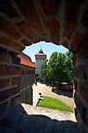 Barbakan w Krakowie, widok na Bramę Floriańską<br /> Barbican, Cracow, Poland