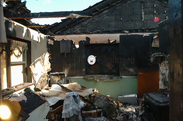 A view of the damage caused by fire to the house at Moyglass, Mullagh. Photograph by John Kelly.