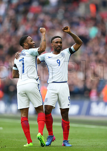 March 26th 2017, Wembley Stadium, London, England; World Cup 2018 Qualification football, England versus Lithuania; Jermain Defoe of England celebrates after scoring his sides 1st goal in the 22nd minute to make it 1-0 with Raheem Sterling of England