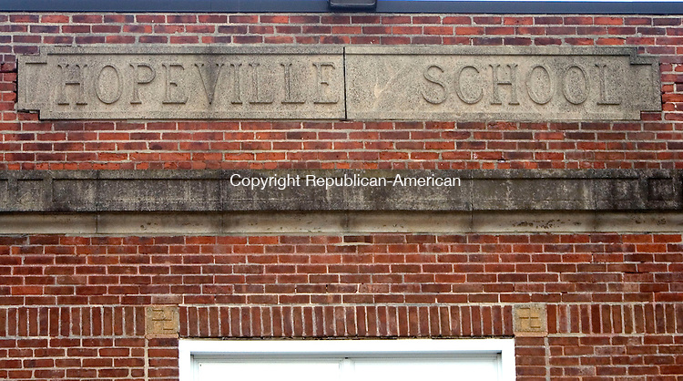 WATERBURY CT. 26 December 2013-122613SV02-These corner stones are on the windows of Hopeville School in Waterbury Thursday. <br /> Steven Valenti Republican-American