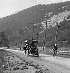 East McKeesport PA:  Brady Stewart's new 1906 Buick Model F driving along the railroad tracks - 1906