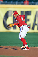 Harrisburg Senators shortstop Wilmer Difo (18) throws to first during a game against the New Hampshire Fisher Cats on July 21, 2015 at Metro Bank Park in Harrisburg, Pennsylvania.  New Hampshire defeated Harrisburg 7-1.  (Mike Janes/Four Seam Images)