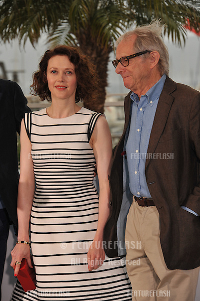 Director Ken Loach &amp; Simone Kirby at the photocall for their movie &quot;Jimmy's Hall&quot; at the 67th Festival de Cannes.<br /> May 22, 2014  Cannes, France<br /> Picture: Paul Smith / Featureflash