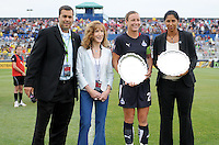 Halftime honorees Steffi Jones (former Freedom player) and Freedom forward Abby Wambach with General Manager and President Mark Washo and Maureen Hendricks Chairwoman.  The LA Sol defeated the Washington Freedom 1-0 at the Maryland Soccerplex, Sunday July 5, 2009.