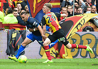 20170415 - LENS , FRANCE : Lens' Benjamin Bourigeaud (R) and Auxerre's Ruben Aguilar (L) pictured during the soccer match between Racing Club de LENS and AJ Auxerre , on the thirty third matchday in the French Dominos pizza Ligue 2 at the Stade Bollaert Delelis stadium , Lens . Saturday 15 April 2017 . PHOTO DIRK VUYLSTEKE | SPORTPIX.BE
