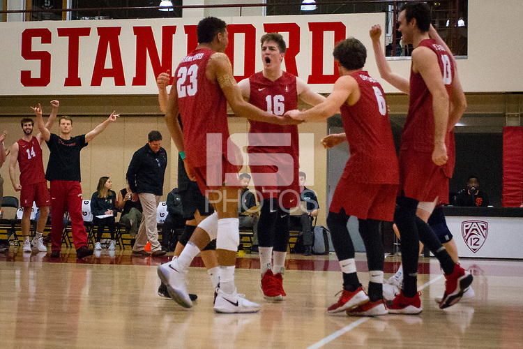STANFORD, CA - March 10, 2018: Jaylen Jasper, Matt Klassen, Russell Dervay, Kevin Rakestraw at Burnham Pavilion. UC Irvine defeated the Stanford Cardinal, 3-0.