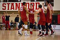 STANFORD, CA - March 10, 2018: Jaylen Jasper, Matt Klassen, Russell Dervay, Kevin Rakestraw at Burnham Pavilion. UC Irvine defeated the Stanford Cardinal, 3-0.