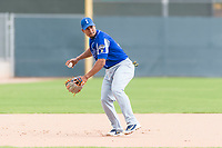 Team Italy third baseman Robel Garcia (12) warms up before an exhibition game against the Oakland Athletics at Lew Wolff Training Complex on October 3, 2018 in Mesa, Arizona. (Zachary Lucy/Four Seam Images)