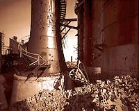 Copper-toned art print, CF&I furnace ruins