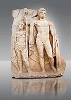 Sculpture of Roman Emperor Tiberius and a barbarian captive. Aphrodisias Archaeological museum, Turkey