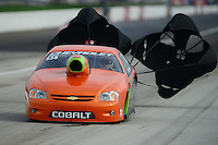 Sept. 1, 2012; Claremont, IN, USA: NHRA pro stock driver Dave River during qualifying for the US Nationals at Lucas Oil Raceway. Mandatory Credit: Mark J. Rebilas-