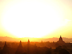 Sunset over temples, Bagan, Burma