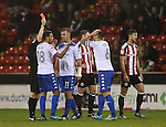 Jacob Mellis of Bury shown the red card during the English League One match at the Bramall Lane Stadium, Sheffield. Picture date: November 22nd, 2016. Pic Simon Bellis/Sportimage