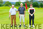 John O'Callaghan, Donal Carroll and Ken West at the Beaufort GC Captains day on Sunday