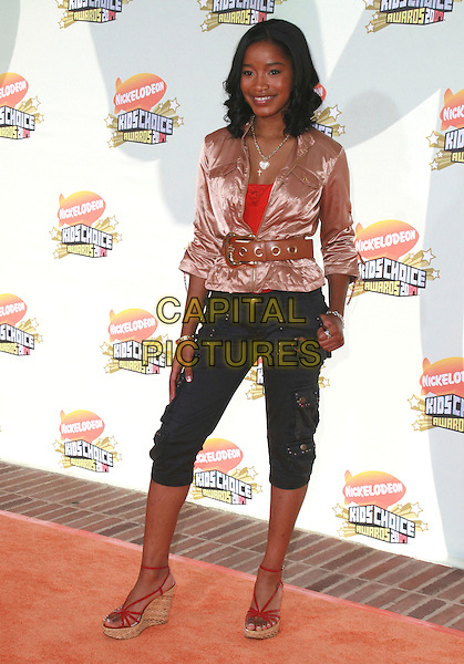 KEKE PALMER.20th Annual Nickelodeon Kids' Choice Awards held at UCLA's Pauley Pavilion, Westwood, California, USA..March 31st, 2007.full length red wedges cropped blue trousers gold top jacket belt satin.CAP/ADM/CH.©Charles Harris/AdMedia/Capital Pictures