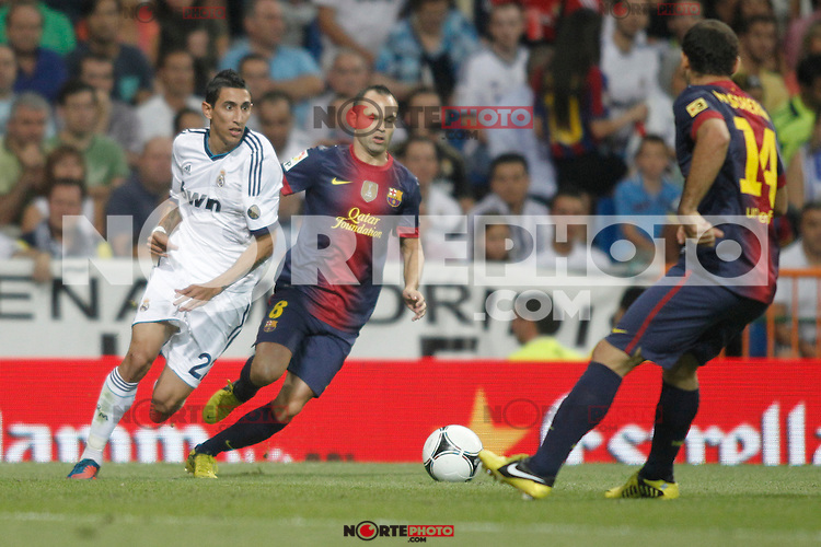 Real Madrid's  Di Maria and Barcelona's Iniesta during Super Copa of Spain on Agost 29th 2012...Photo:  (ALTERPHOTOS/Ricky) Super Cup match. August 29, 2012. <br />  (foto:ALTERPHOTOS/NortePhoto.com<br /> <br /> **CREDITO*OBLIGATORIO** <br /> *No*Venta*A*Terceros*<br /> *No*Sale*So*third*<br /> *** No*Se*Permite*Hacer*Archivo**<br /> *No*Sale*So*third*