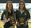 Katie LoPiccolo of St. John the Baptist High School, left, and Michelle Reynolds of Holy Trinity High School pose for a portrait after the Nassau-Suffolk CHSAA girls' bowling individual championship at AMF Babylon Lanes on Thursday, Feb. 11, 2016. Reyonds won the league title with a 565 three game series and had a high game of 206 while Reynolds posted a high game score of 190.