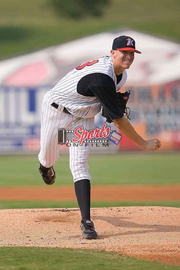 Starting pitcher Johnnie Lowe (43) of the Kannapolis Intimidators follows through on his delivery at Fieldcrest Cannon Stadium in Kannapolis, NC, Sunday July 20, 2008. (Photo by Brian Westerholt / Four Seam Images)